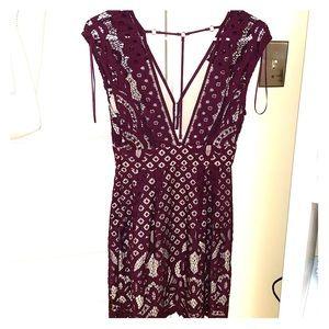 Free People Burgundy Lace Dress